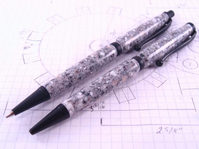 Black Enamel Slim Pen and Pencil in Corian