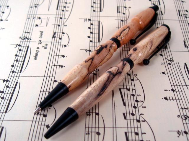 Spalted Pecan Black Enamel Slim Line Pen & Pencil Set