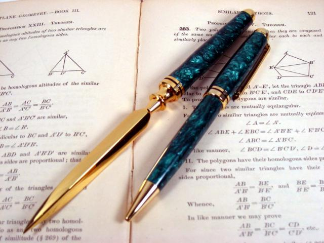 "Acrylic ""Emerald"" Gold European Pen and Letter Opener"