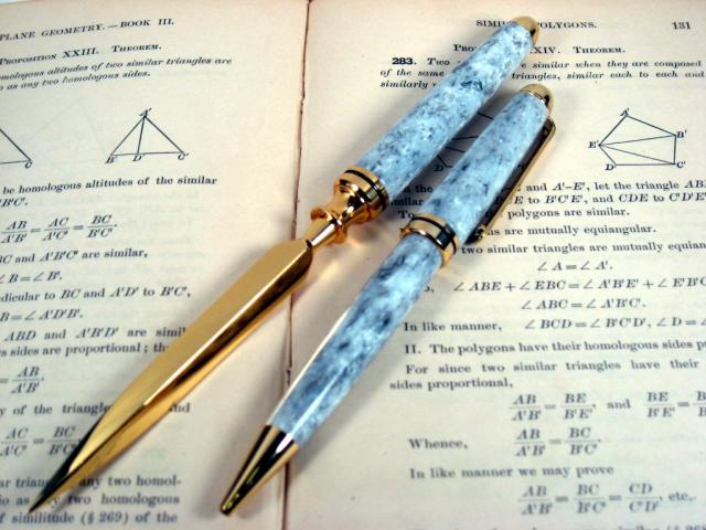 "Acrylic ""Granite"" Gold European Pen and Letter Opener"