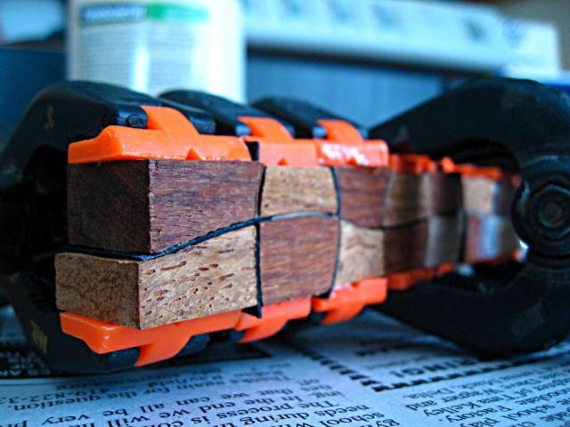 Step 3: glue up blanks with veneer strip separators