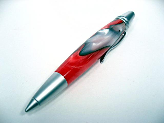 Acrylic Fire and Ice Atlas Pencil with Satin Silver Hardware