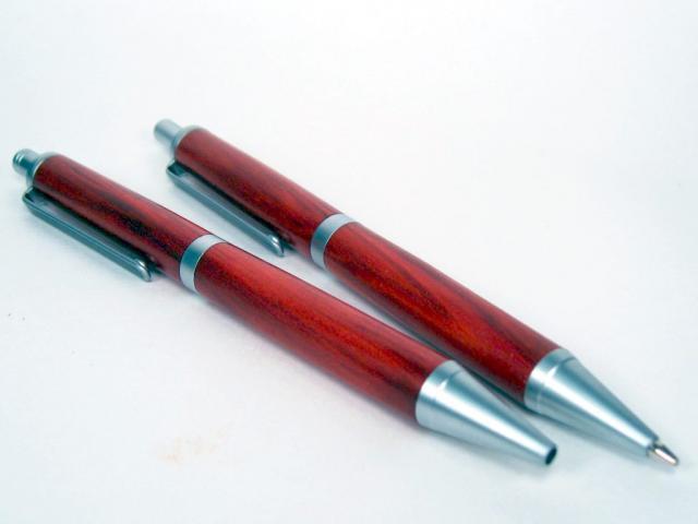 Slimline Pro Satin Ballpoint Pen and Pencil Set in Redheart